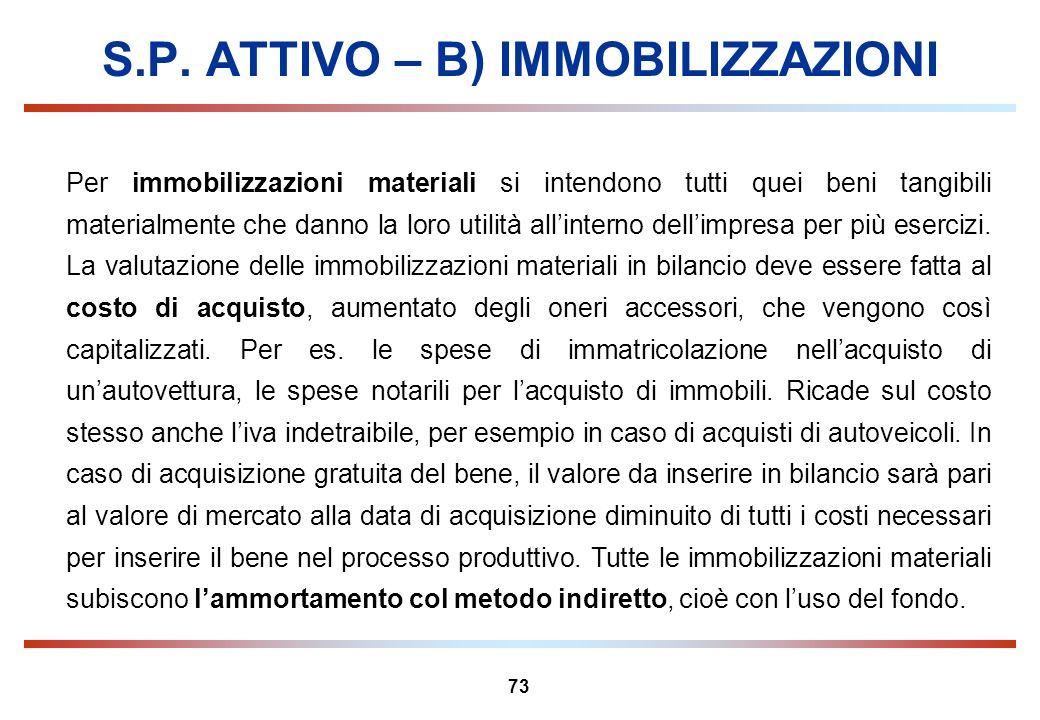 73 S.P. ATTIVO – B) IMMOBILIZZAZIONI Per immobilizzazioni materiali si intendono tutti quei beni tangibili materialmente che danno la loro utilità all