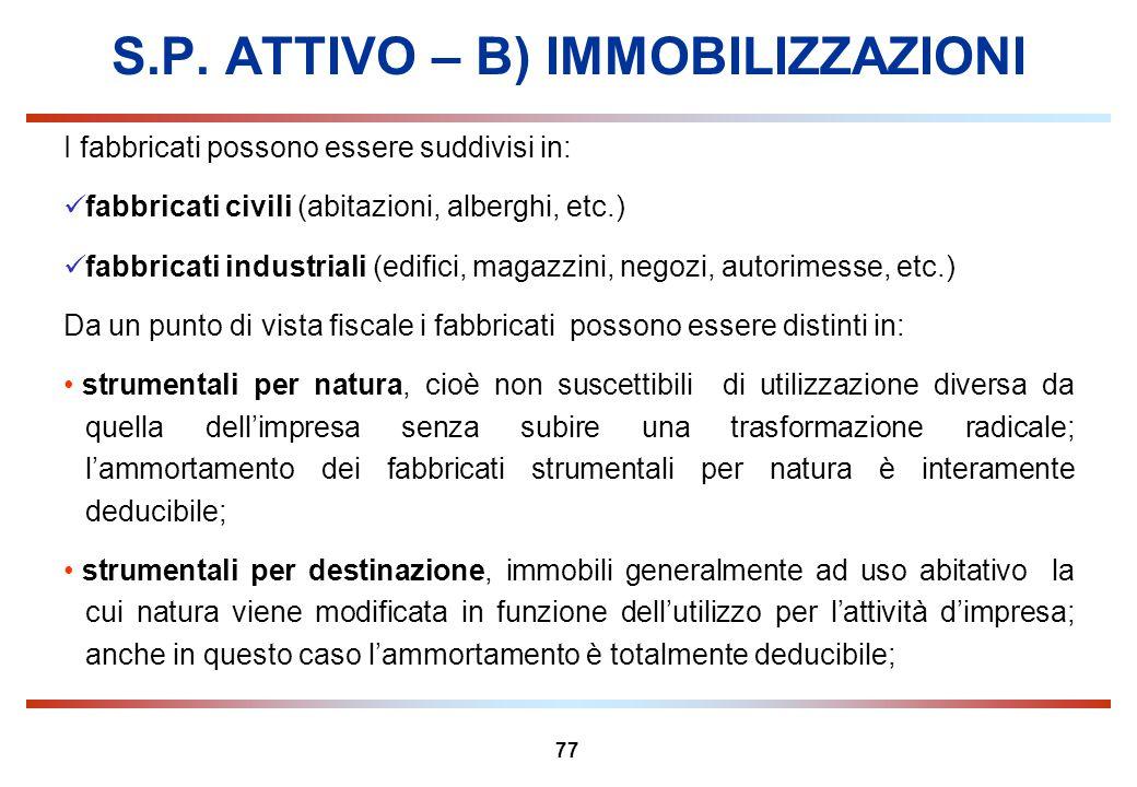 77 S.P. ATTIVO – B) IMMOBILIZZAZIONI I fabbricati possono essere suddivisi in: fabbricati civili (abitazioni, alberghi, etc.) fabbricati industriali (