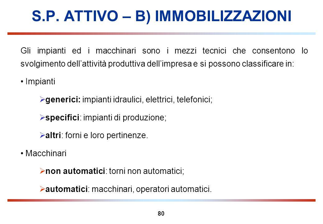 80 S.P. ATTIVO – B) IMMOBILIZZAZIONI Gli impianti ed i macchinari sono i mezzi tecnici che consentono lo svolgimento dellattività produttiva dellimpre