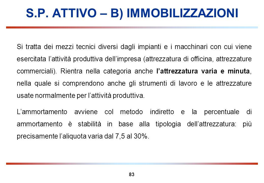 83 S.P. ATTIVO – B) IMMOBILIZZAZIONI Si tratta dei mezzi tecnici diversi dagli impianti e i macchinari con cui viene esercitata lattività produttiva d