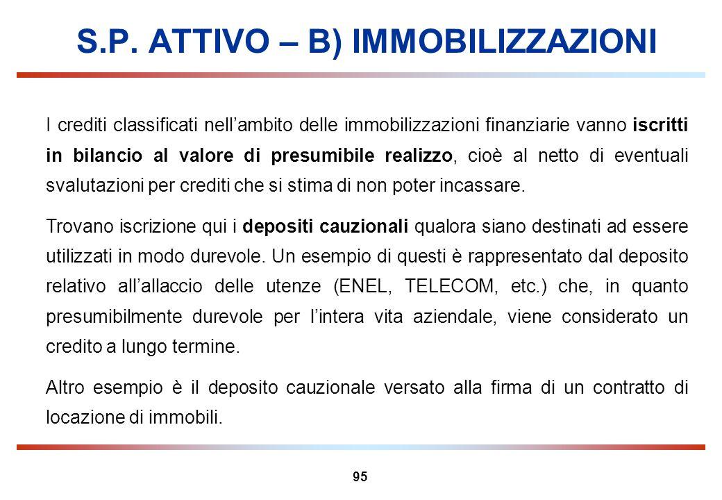 95 S.P. ATTIVO – B) IMMOBILIZZAZIONI I crediti classificati nellambito delle immobilizzazioni finanziarie vanno iscritti in bilancio al valore di pres