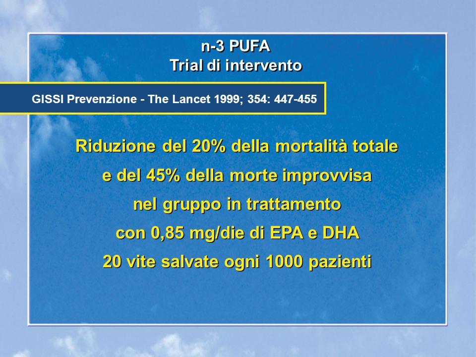 Riduzione del 20% della mortalità totale e del 45% della morte improvvisa nel gruppo in trattamento con 0,85 mg/die di EPA e DHA 20 vite salvate ogni 1000 pazienti n-3 PUFA Trial di intervento n-3 PUFA Trial di intervento GISSI Prevenzione - The Lancet 1999; 354: 447-455 Riduzione del 20% della mortalità totale e del 45% della morte improvvisa nel gruppo in trattamento con 0,85 mg/die di EPA e DHA 20 vite salvate ogni 1000 pazienti