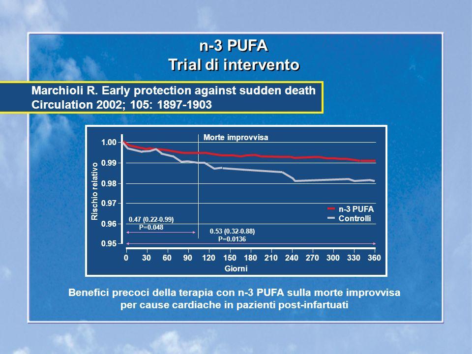 n-3 PUFA Trial di intervento n-3 PUFA Trial di intervento Benefici precoci della terapia con n-3 PUFA sulla morte improvvisa per cause cardiache in pazienti post-infartuati Marchioli R.