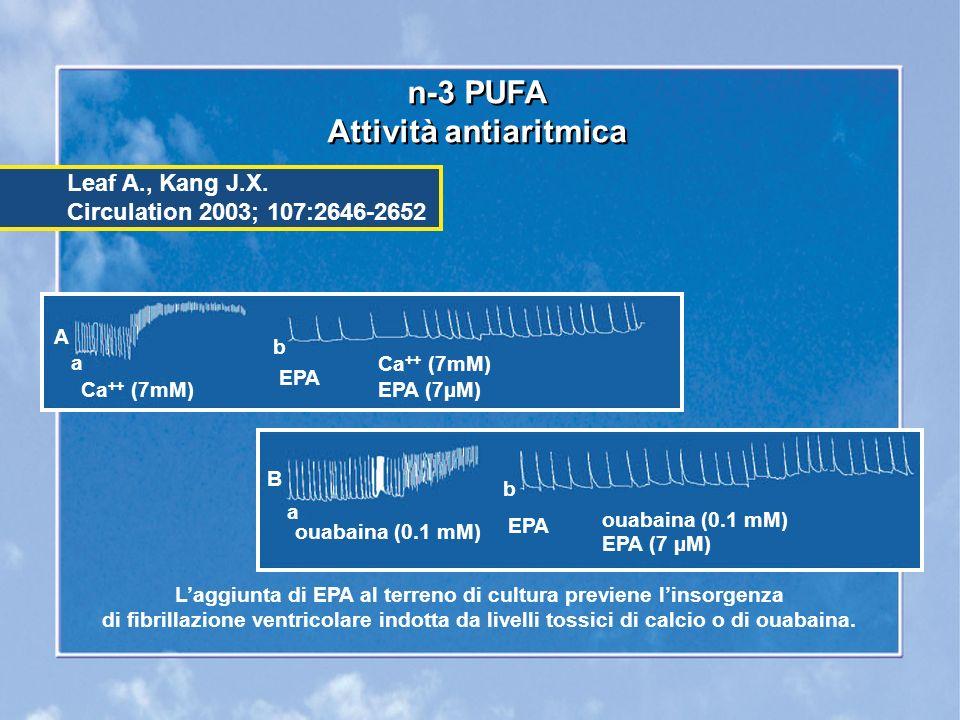 n-3 PUFA Attività antiaritmica n-3 PUFA Attività antiaritmica Laggiunta di EPA al terreno di cultura previene linsorgenza di fibrillazione ventricolare indotta da livelli tossici di calcio o di ouabaina.