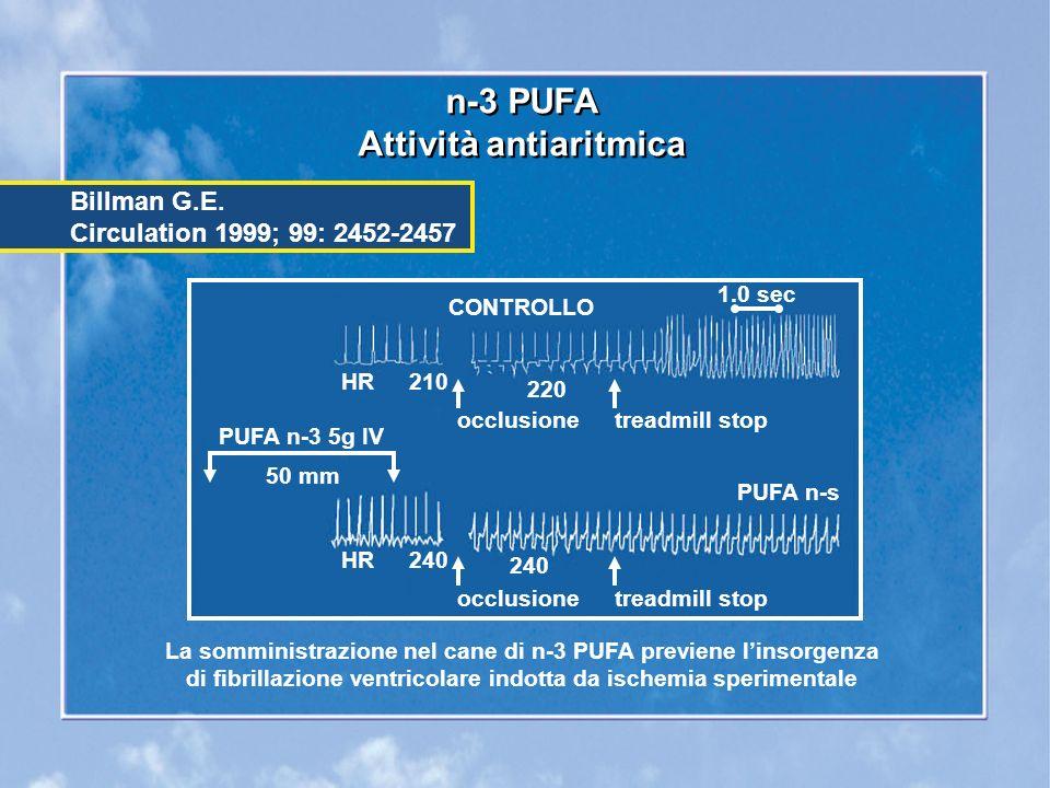n-3 PUFA Attività antiaritmica n-3 PUFA Attività antiaritmica Billman G.E.