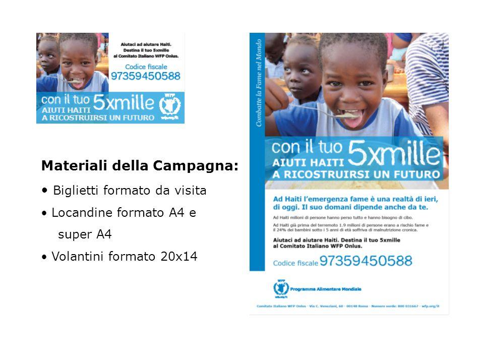 Materiali della Campagna: Biglietti formato da visita Locandine formato A4 e super A4 Volantini formato 20x14