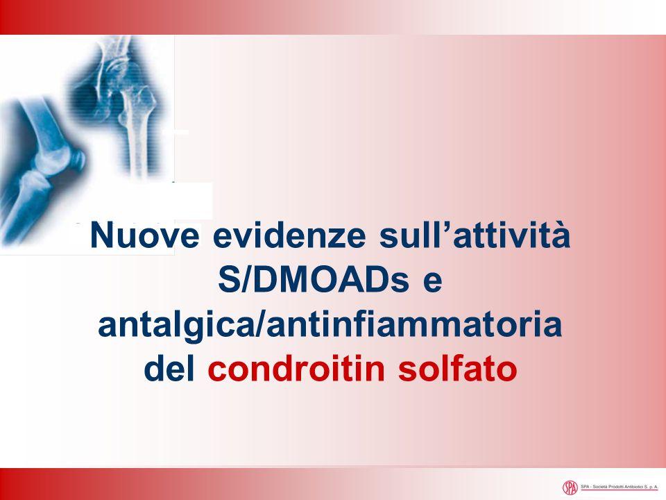 Condrocita IL-1 SP L-a Flogosi Interleuchina-1 SP Sintesi proteica L-a NO sintetasi inducibile Ciclossigenasi 2 (inducibile) Prostaglandin E sintetasi-1 microsomiale Prostaglandina H 2 Prostaglandina E 2 Acido arachidonico Ossido nitrico L-argininaRiduzione Inibizione ad opera di CS Condroitin solfato Inibizione sintesi aggrecano Inibizione sintesi collagene Attivazione MMP Dolore Degradazione aggrecano Attività antalgica/antinfiammatoria Chan PS et al.