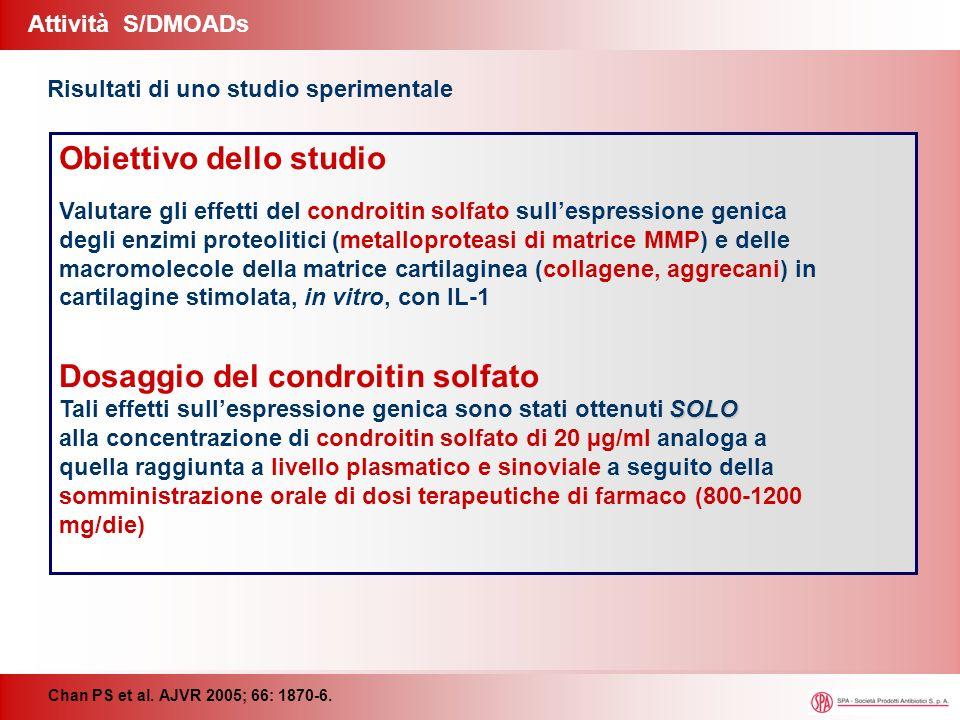 Attività S/DMOADs Chan PS et al. AJVR 2005; 66: 1870-6. Obiettivo dello studio Valutare gli effetti del condroitin solfato sullespressione genica degl