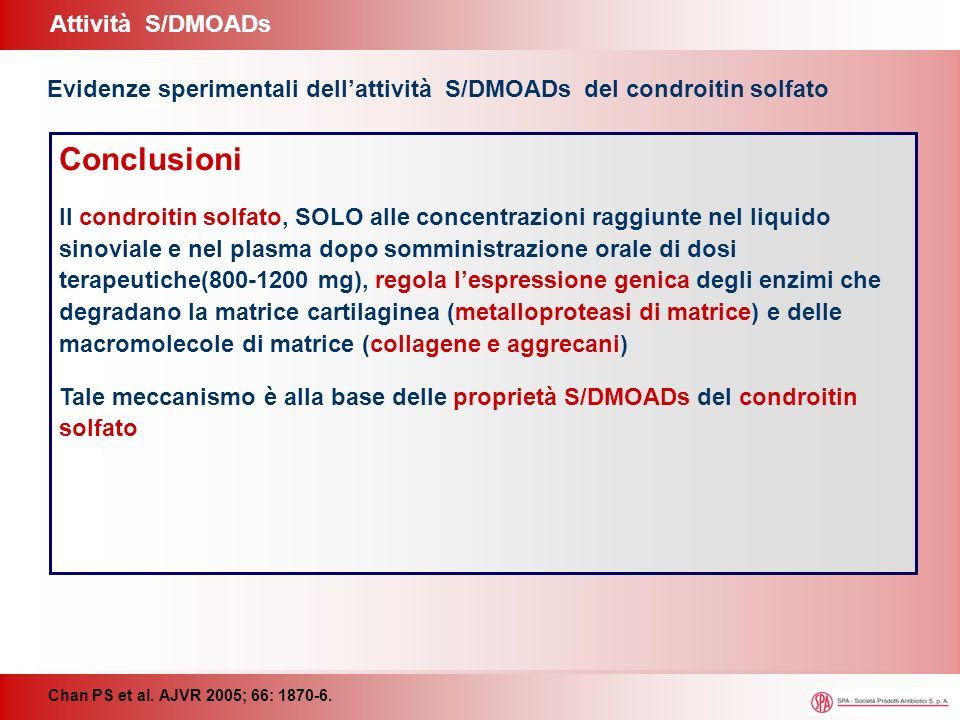 Attività S/DMOADs Chan PS et al. AJVR 2005; 66: 1870-6. Evidenze sperimentali dellattività S/DMOADs del condroitin solfato Conclusioni Il condroitin s