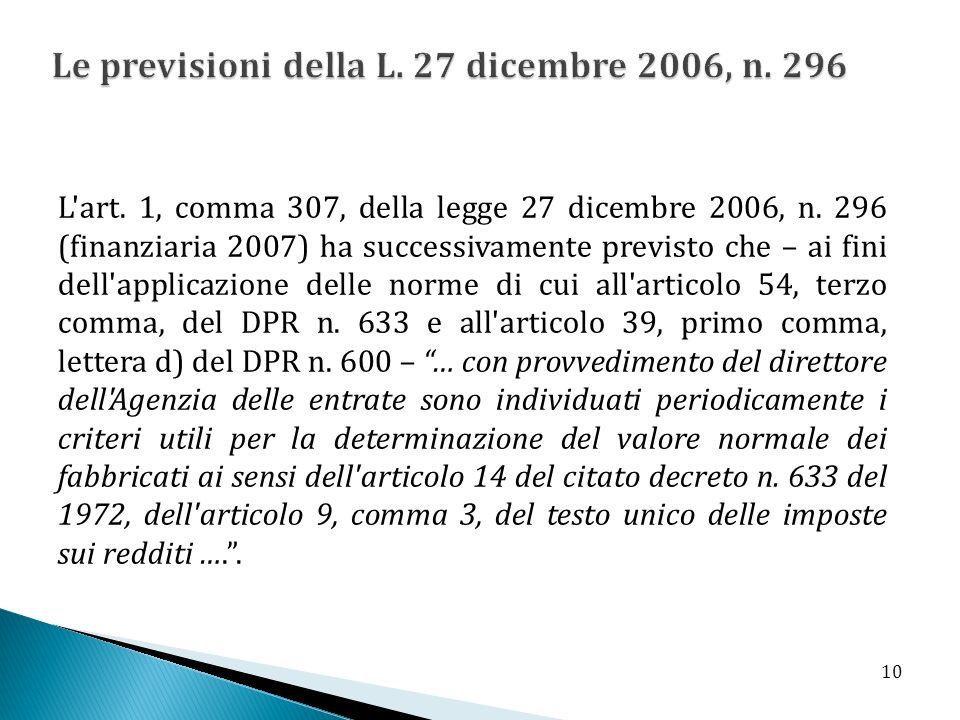 L'art. 1, comma 307, della legge 27 dicembre 2006, n. 296 (finanziaria 2007) ha successivamente previsto che – ai fini dell'applicazione delle norme d