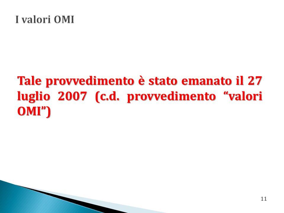 Tale provvedimento è stato emanato il 27 luglio 2007 (c.d. provvedimento valori OMI) 11