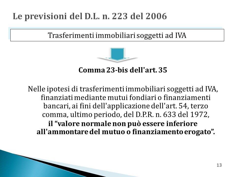 Comma 23-bis dell'art. 35 Nelle ipotesi di trasferimenti immobiliari soggetti ad IVA, finanziati mediante mutui fondiari o finanziamenti bancari, ai f