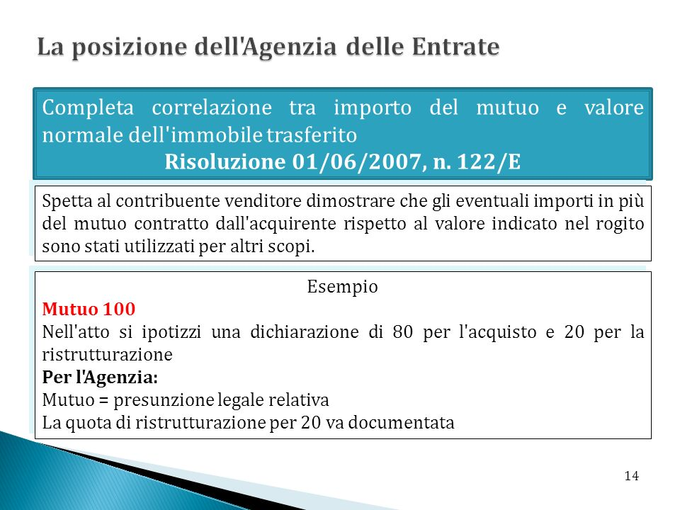 Completa correlazione tra importo del mutuo e valore normale dell'immobile trasferito Risoluzione 01/06/2007, n. 122/E Spetta al contribuente venditor