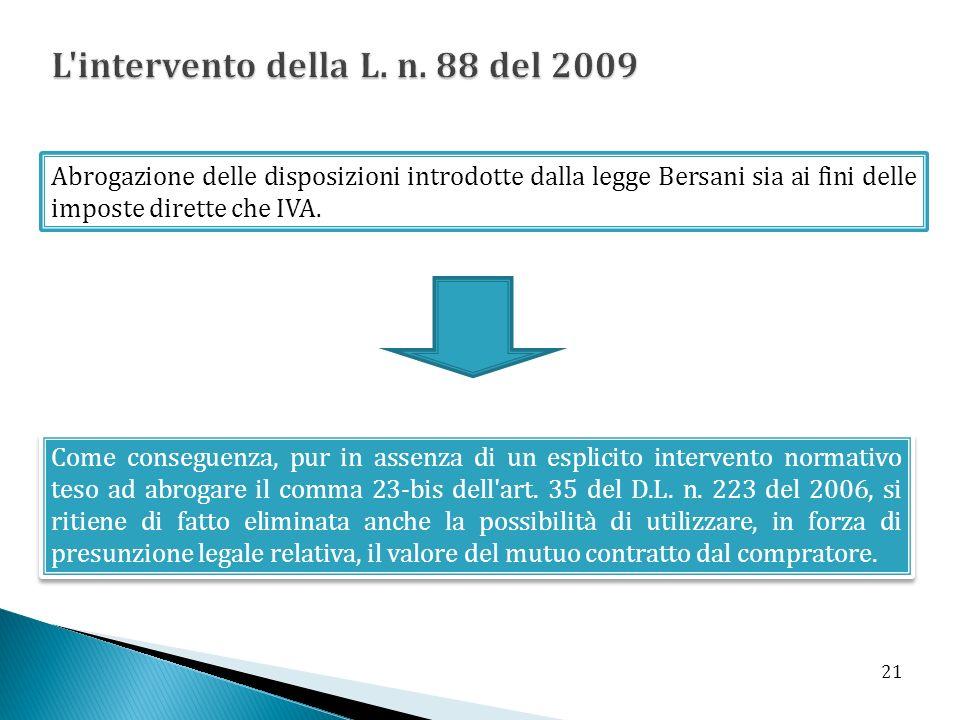 Abrogazione delle disposizioni introdotte dalla legge Bersani sia ai fini delle imposte dirette che IVA. Come conseguenza, pur in assenza di un esplic