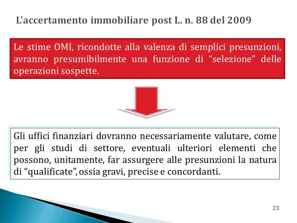 Le stime OMI, ricondotte alla valenza di semplici presunzioni, avranno presumibilmente una funzione di selezione delle operazioni sospette. Gli uffici