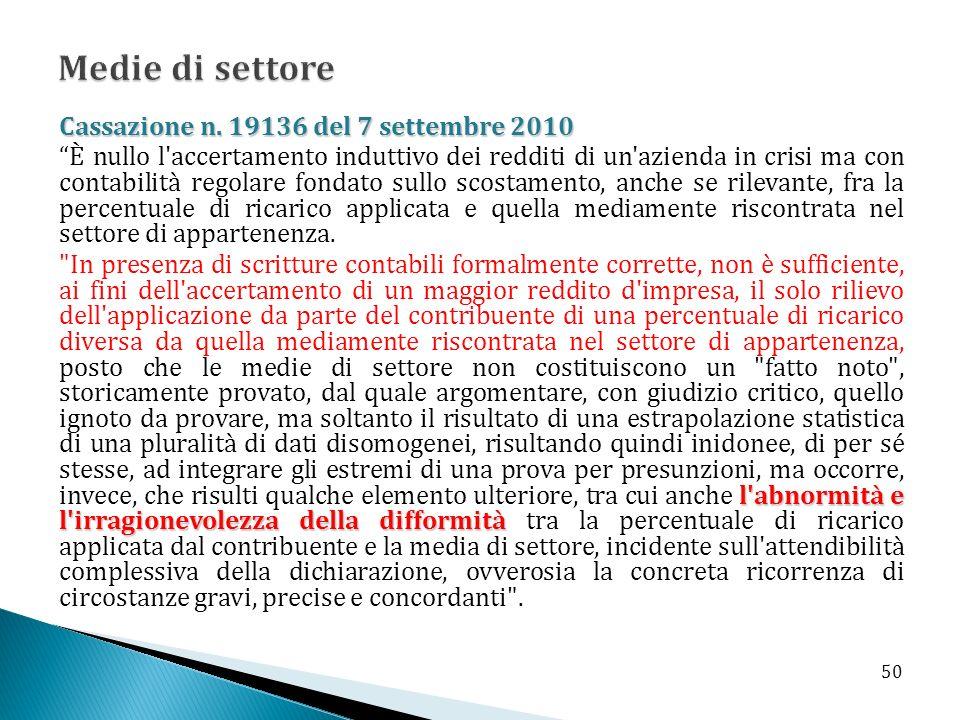 Cassazione n. 19136 del 7 settembre 2010 È nullo l'accertamento induttivo dei redditi di un'azienda in crisi ma con contabilità regolare fondato sullo