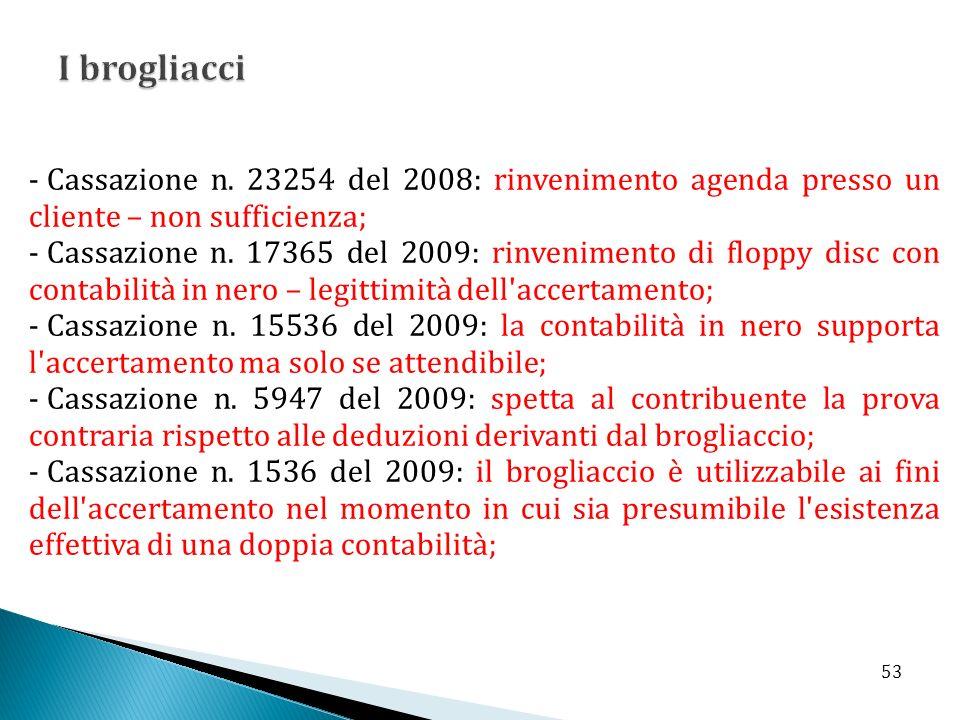 - Cassazione n. 23254 del 2008: rinvenimento agenda presso un cliente – non sufficienza; - Cassazione n. 17365 del 2009: rinvenimento di floppy disc c