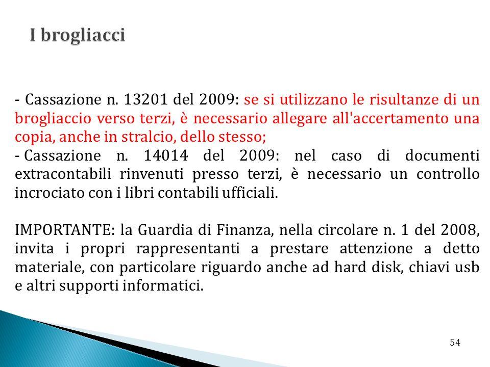 - Cassazione n. 13201 del 2009: se si utilizzano le risultanze di un brogliaccio verso terzi, è necessario allegare all'accertamento una copia, anche