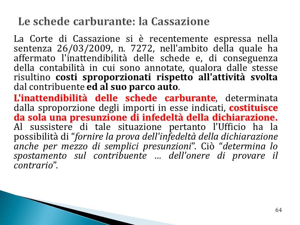 La Corte di Cassazione si è recentemente espressa nella sentenza 26/03/2009, n. 7272, nell'ambito della quale ha affermato l'inattendibilità delle sch
