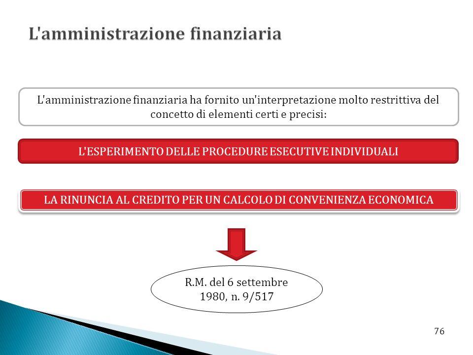 L'amministrazione finanziaria ha fornito un'interpretazione molto restrittiva del concetto di elementi certi e precisi: L'ESPERIMENTO DELLE PROCEDURE