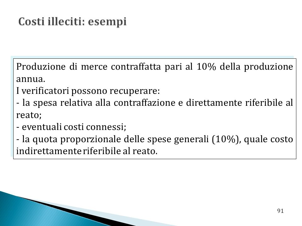 Produzione di merce contraffatta pari al 10% della produzione annua. I verificatori possono recuperare: - la spesa relativa alla contraffazione e dire