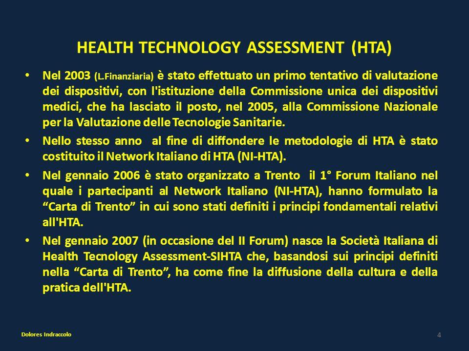 4 HEALTH TECHNOLOGY ASSESSMENT (HTA) Nel 2003 (L.Finanziaria) è stato effettuato un primo tentativo di valutazione dei dispositivi, con l'istituzione
