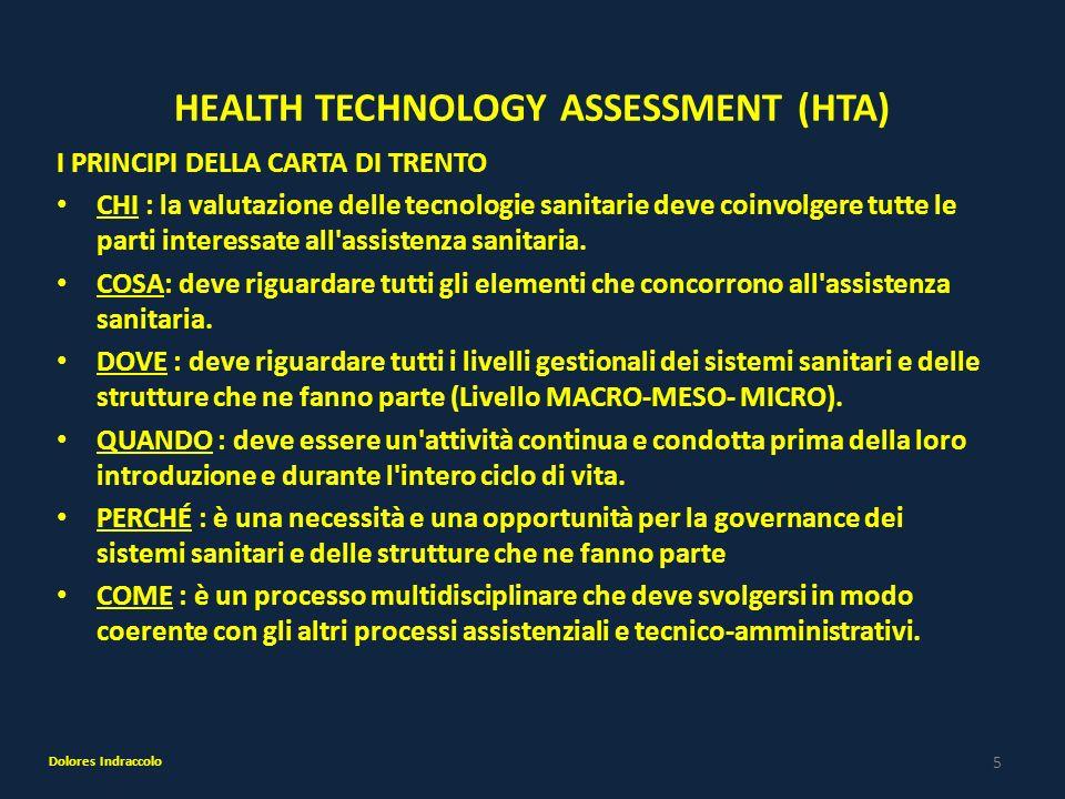 5 HEALTH TECHNOLOGY ASSESSMENT (HTA) I PRINCIPI DELLA CARTA DI TRENTO CHI : la valutazione delle tecnologie sanitarie deve coinvolgere tutte le parti
