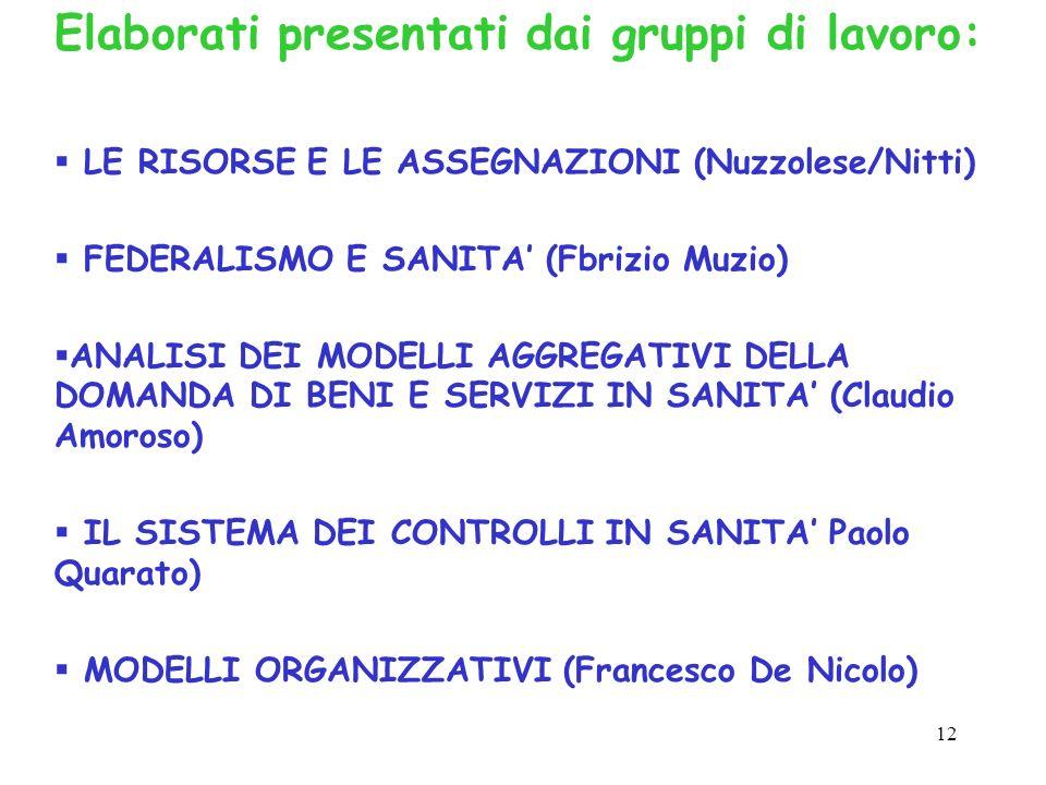 12 Elaborati presentati dai gruppi di lavoro: LE RISORSE E LE ASSEGNAZIONI (Nuzzolese/Nitti) FEDERALISMO E SANITA (Fbrizio Muzio) ANALISI DEI MODELLI