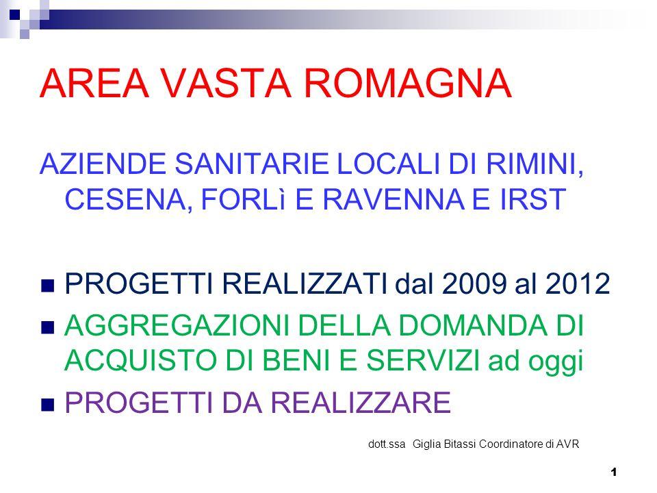 1 AREA VASTA ROMAGNA AZIENDE SANITARIE LOCALI DI RIMINI, CESENA, FORLì E RAVENNA E IRST PROGETTI REALIZZATI dal 2009 al 2012 AGGREGAZIONI DELLA DOMAND