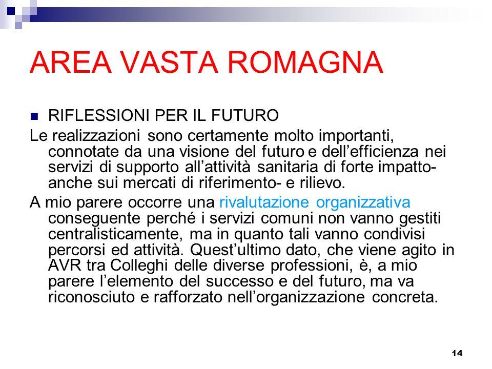 14 AREA VASTA ROMAGNA RIFLESSIONI PER IL FUTURO Le realizzazioni sono certamente molto importanti, connotate da una visione del futuro e dellefficienza nei servizi di supporto allattività sanitaria di forte impatto- anche sui mercati di riferimento- e rilievo.