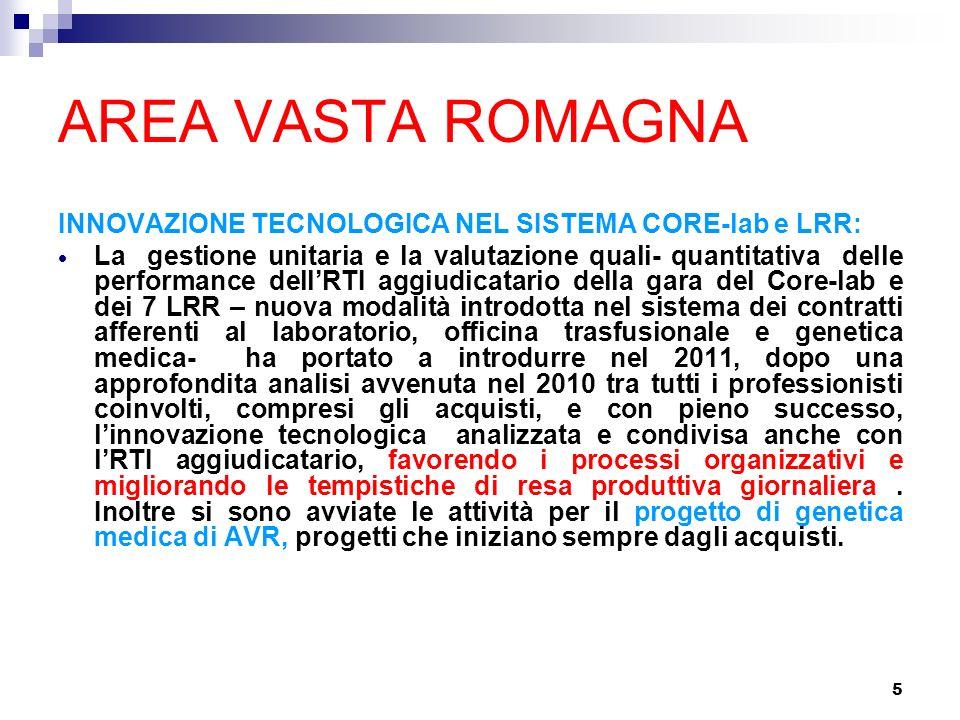 5 AREA VASTA ROMAGNA INNOVAZIONE TECNOLOGICA NEL SISTEMA CORE-lab e LRR: La gestione unitaria e la valutazione quali- quantitativa delle performance d