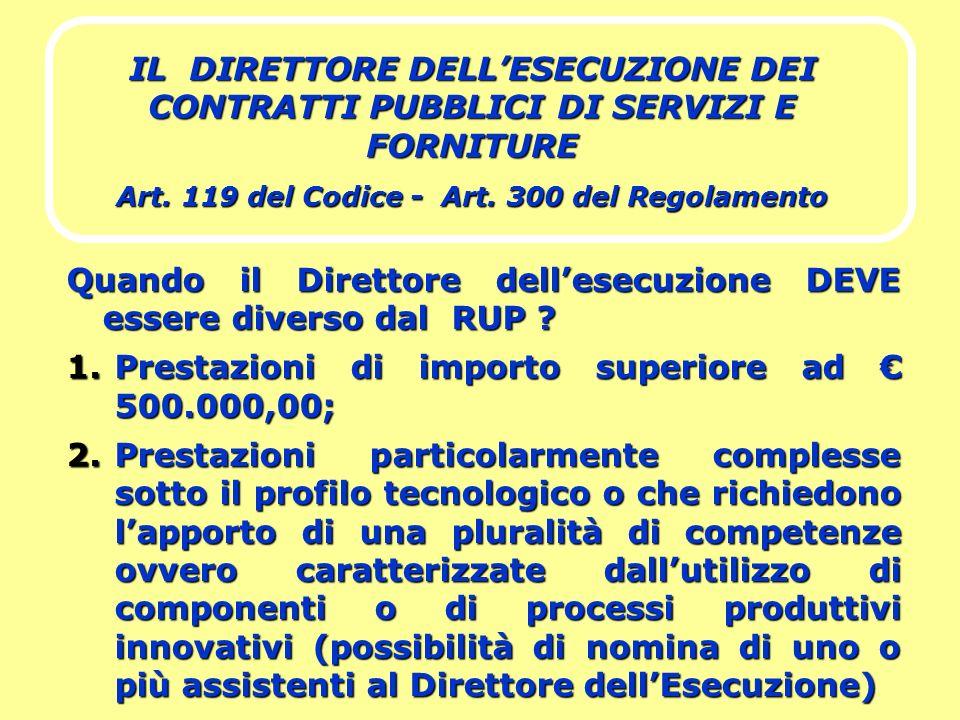 IL DIRETTORE DELLESECUZIONE DEI CONTRATTI PUBBLICI DI SERVIZI E FORNITURE Art. 119 del Codice - Art. 300 del Regolamento Quando il Direttore dellesecu