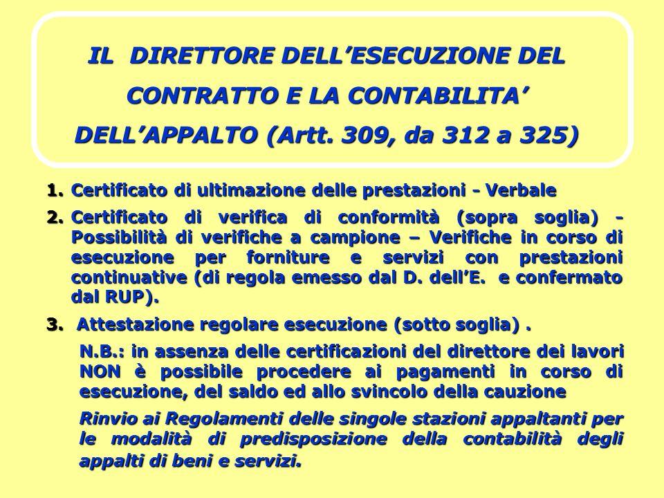 IL DIRETTORE DELLESECUZIONE DEL CONTRATTO E LA CONTABILITA DELLAPPALTO (Artt. 309, da 312 a 325) 1.Certificato di ultimazione delle prestazioni - Verb