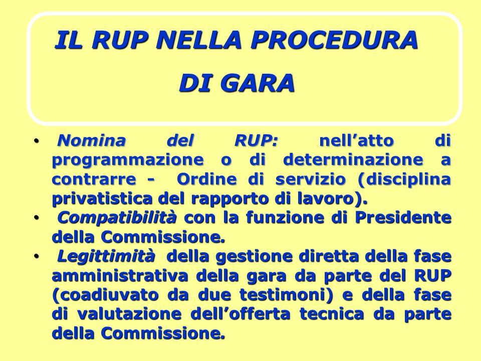 IL RUP NELLA PROCEDURA DI GARA Nomina del RUP: nellatto di programmazione o di determinazione a contrarre - Ordine di servizio (disciplina privatistic