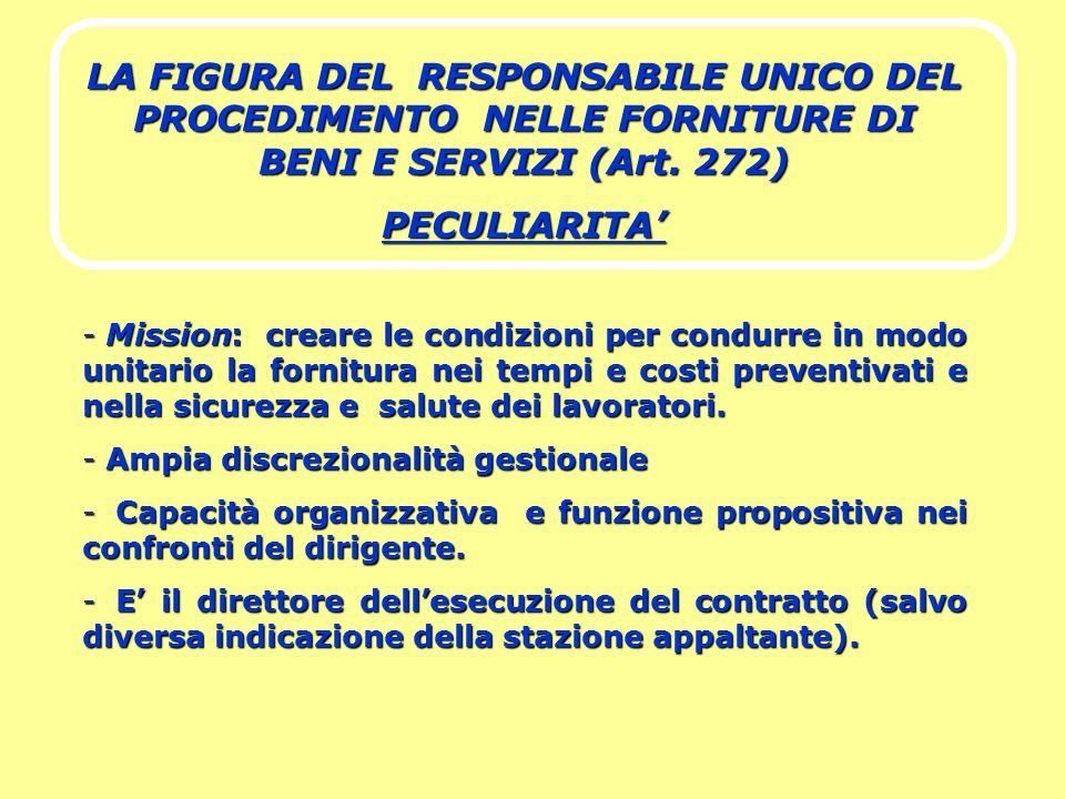 LA FIGURA DEL RESPONSABILE UNICO DEL PROCEDIMENTO NELLE FORNITURE DI BENI E SERVIZI (Art. 272) PECULIARITA - Mission: creare le condizioni per condurr