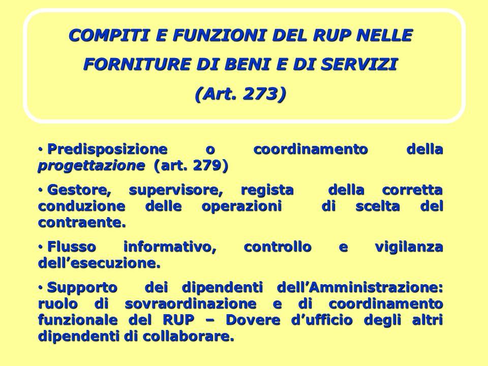 COMPITI E FUNZIONI DEL RUP NELLE FORNITURE DI BENI E DI SERVIZI (Art. 273) Predisposizione o coordinamento della progettazione (art. 279) Predisposizi