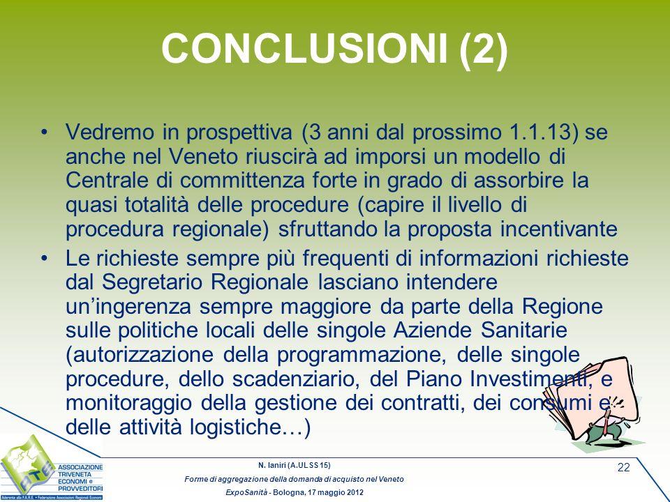 N. Ianiri (A.ULSS 15) Forme di aggregazione della domanda di acquisto nel Veneto ExpoSanità - Bologna, 17 maggio 2012 22 CONCLUSIONI (2) Vedremo in pr