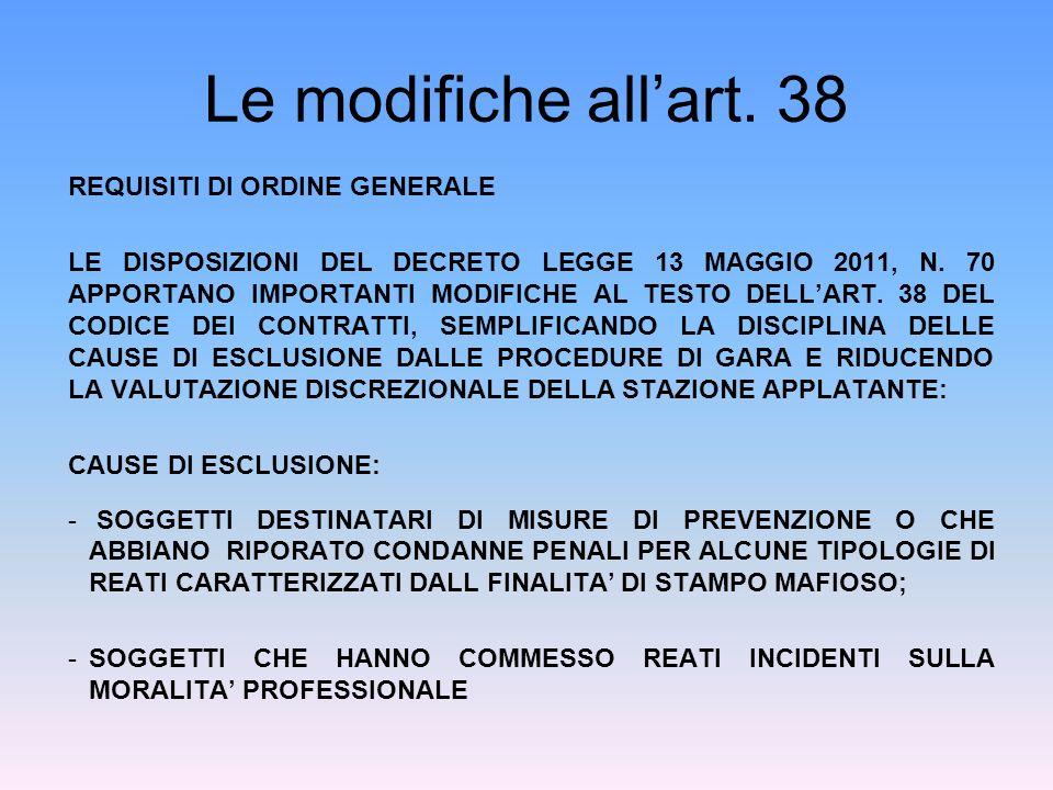 Le modifiche allart. 38 REQUISITI DI ORDINE GENERALE LE DISPOSIZIONI DEL DECRETO LEGGE 13 MAGGIO 2011, N. 70 APPORTANO IMPORTANTI MODIFICHE AL TESTO D