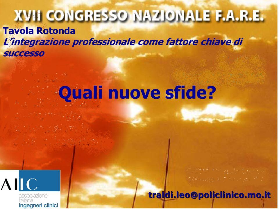 Tavola Rotonda Lintegrazione professionale come fattore chiave di successo traldi.leo@policlinico.mo.it Quali nuove sfide?