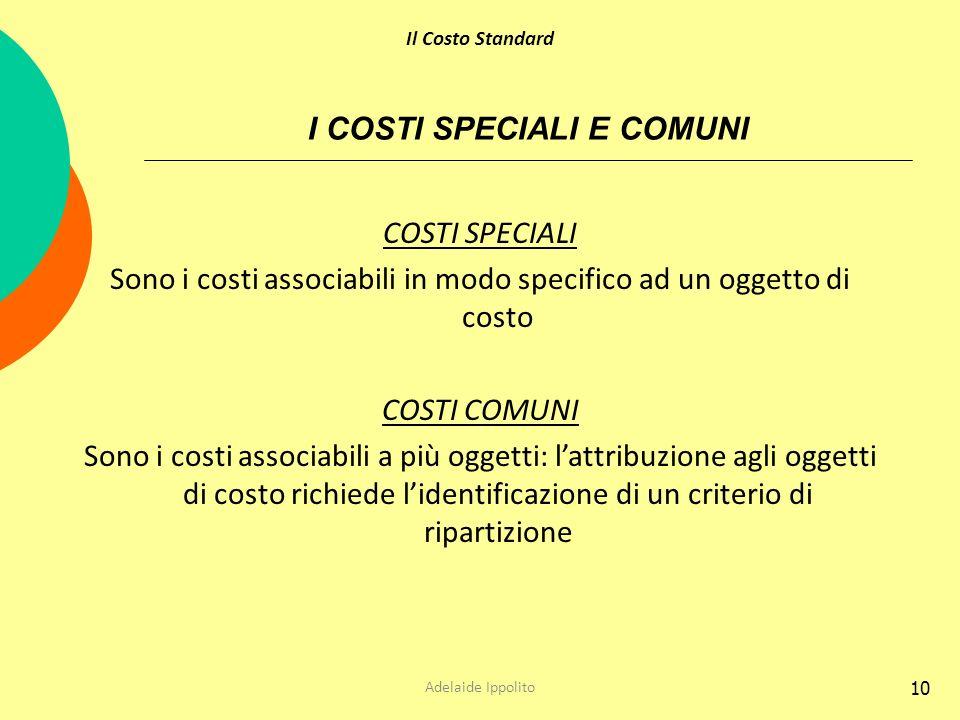 10 I COSTI SPECIALI E COMUNI COSTI SPECIALI Sono i costi associabili in modo specifico ad un oggetto di costo COSTI COMUNI Sono i costi associabili a