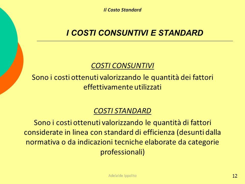 12 I COSTI CONSUNTIVI E STANDARD COSTI CONSUNTIVI Sono i costi ottenuti valorizzando le quantità dei fattori effettivamente utilizzati COSTI STANDARD