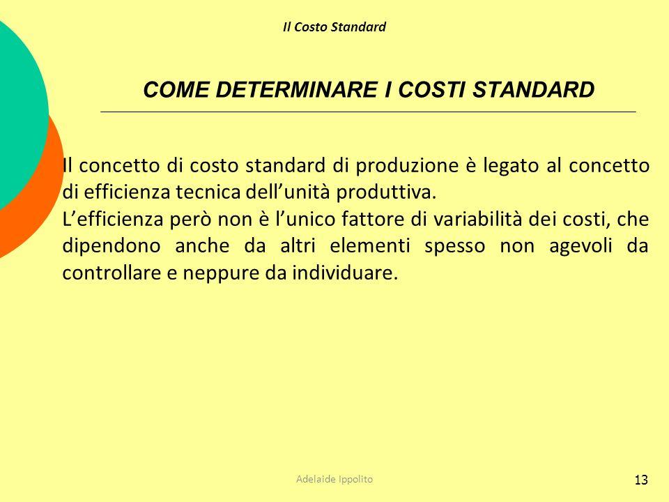 13 COME DETERMINARE I COSTI STANDARD Il concetto di costo standard di produzione è legato al concetto di efficienza tecnica dellunità produttiva. Leff