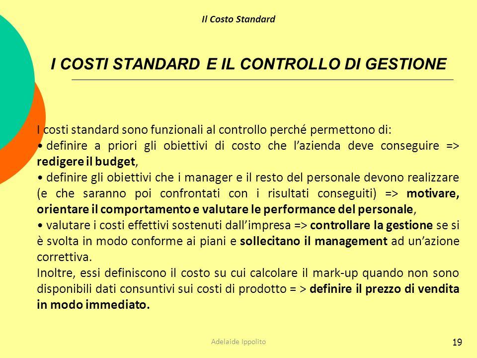 19 I COSTI STANDARD E IL CONTROLLO DI GESTIONE I costi standard sono funzionali al controllo perché permettono di: definire a priori gli obiettivi di