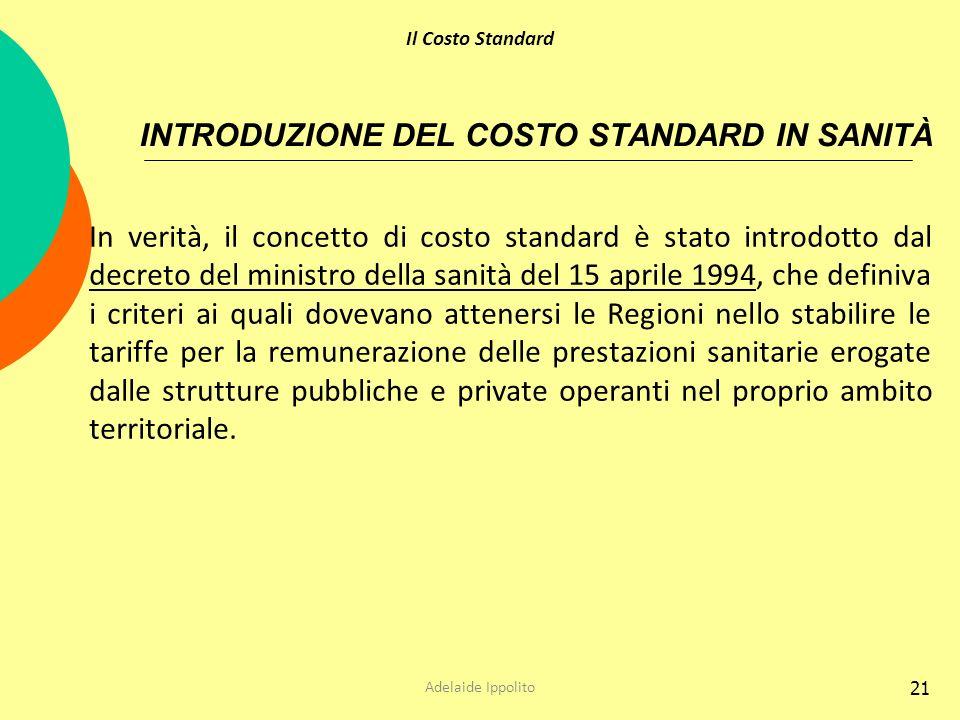21 INTRODUZIONE DEL COSTO STANDARD IN SANITÀ In verità, il concetto di costo standard è stato introdotto dal decreto del ministro della sanità del 15
