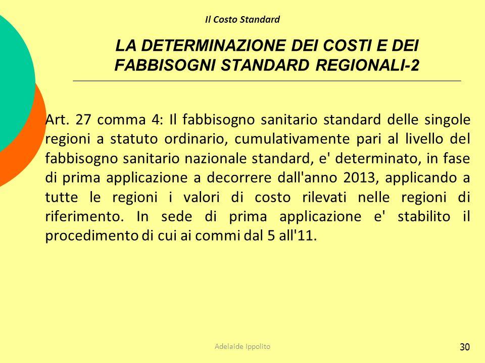 30 LA DETERMINAZIONE DEI COSTI E DEI FABBISOGNI STANDARD REGIONALI-2 Art. 27 comma 4: Il fabbisogno sanitario standard delle singole regioni a statuto