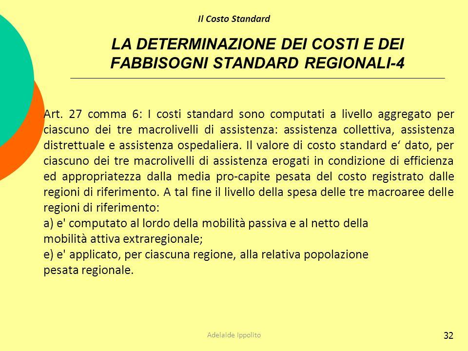32 LA DETERMINAZIONE DEI COSTI E DEI FABBISOGNI STANDARD REGIONALI-4 Art. 27 comma 6: I costi standard sono computati a livello aggregato per ciascuno
