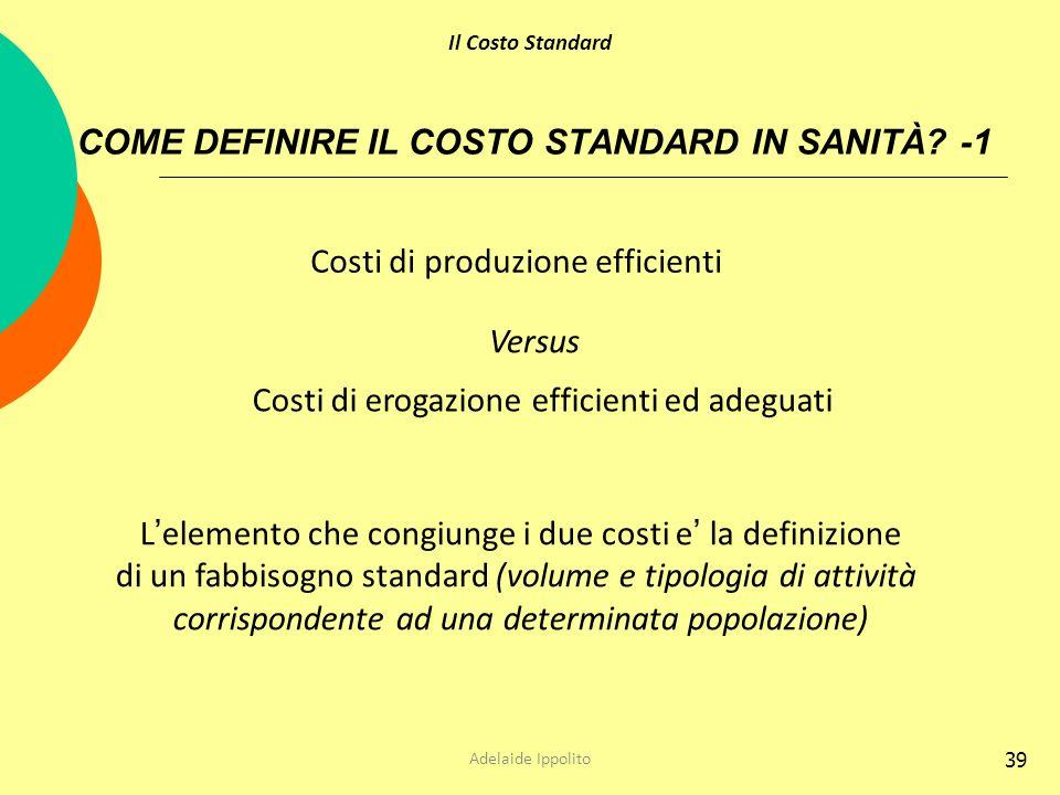 39 COME DEFINIRE IL COSTO STANDARD IN SANITÀ? -1 Costi di produzione efficienti Costi di erogazione efficienti ed adeguati L elemento che congiunge i