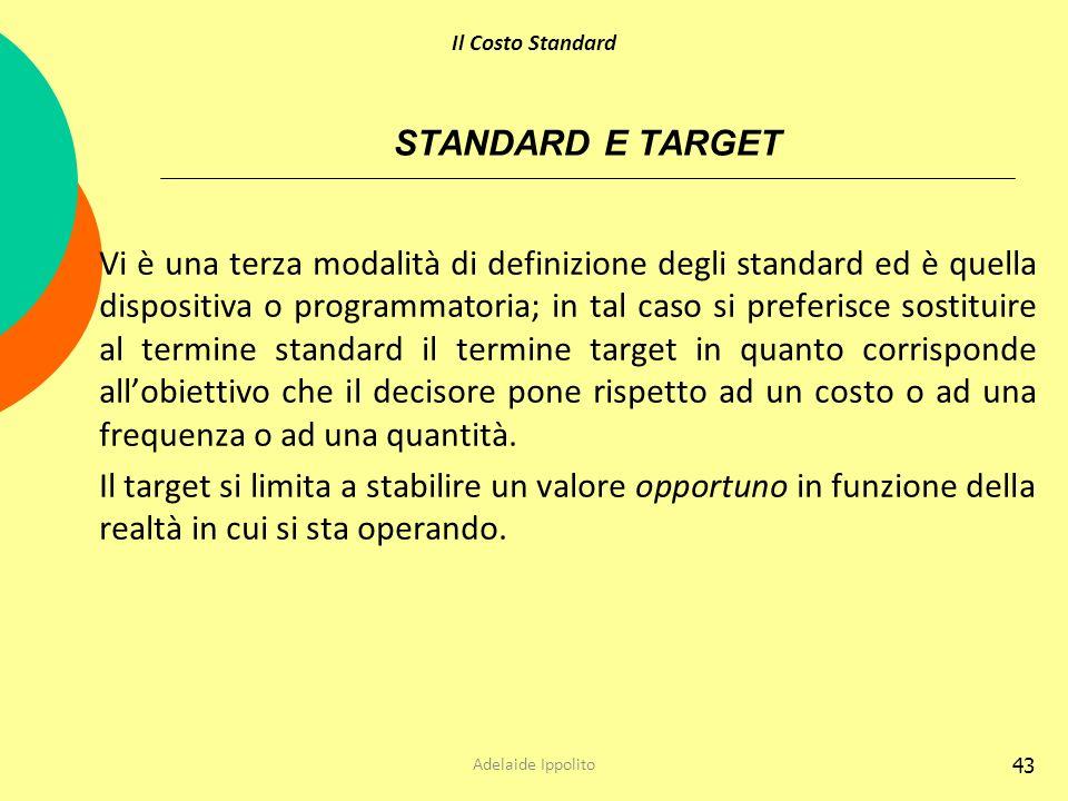 43 STANDARD E TARGET Vi è una terza modalità di definizione degli standard ed è quella dispositiva o programmatoria; in tal caso si preferisce sostitu