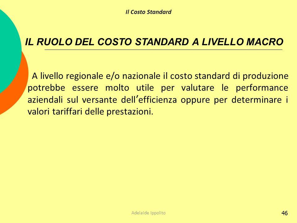 46 A livello regionale e/o nazionale il costo standard di produzione potrebbe essere molto utile per valutare le performance aziendali sul versante de
