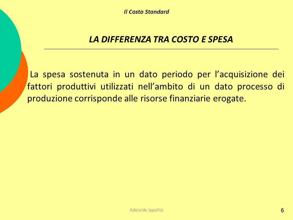 6 LA DIFFERENZA TRA COSTO E SPESA La spesa sostenuta in un dato periodo per lacquisizione dei fattori produttivi utilizzati nellambito di un dato proc